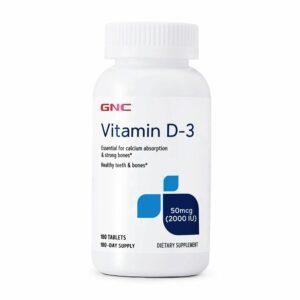 GNC Vitamin D-3 50mcg 2000IU, 180 Tablets