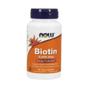 NOW Biotin 5000mcg, 60 Veg Capsules