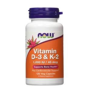 NOW Vitamin D-3 & K-2, 120 Ct
